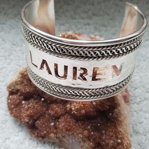 Braided cut out name cuff bracelet by Rustic Cuff